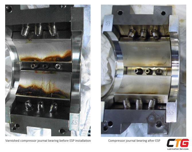 Varnished compressor journal bearing before and after-ESP